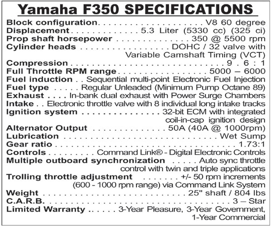 Yamaha F350 - Power Up and Spend More Time Fishing - New